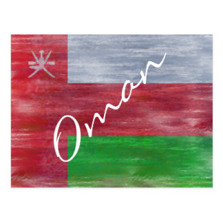 Oman distressed flag postcard
