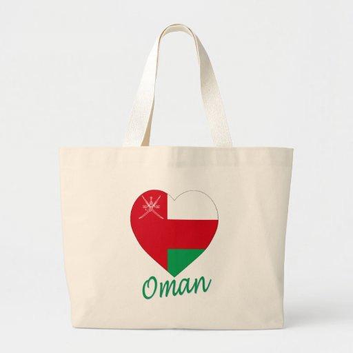 Oman Flag Heart Canvas Bags