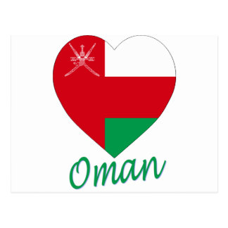 Oman Flag Heart Postcard