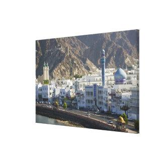Oman, Muscat, Mutrah. Buildings along Mutrah Canvas Print