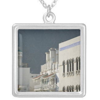 Oman, Muscat, Mutrah. Mutrah Corniche Mosque and Silver Plated Necklace