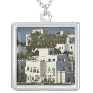 Oman, Muscat, Qurm. Buildings of Qurm Area / Silver Plated Necklace
