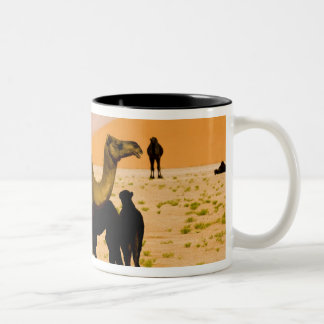 Oman, Rub Al Khali desert, camels (dromedaries), Two-Tone Coffee Mug