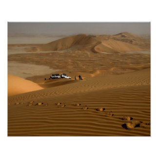 Oman, Rub Al Khali desert, driving on the dunes Poster