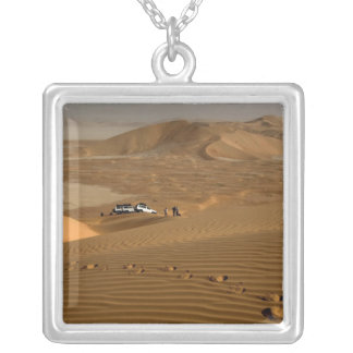 Oman, Rub Al Khali desert, driving on the dunes Silver Plated Necklace