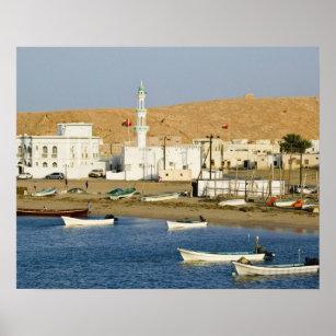 Oman, Sharqiya Region, Sur. Ayajh Town, Dusk Poster