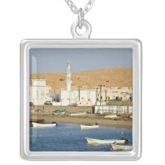 Oman, Sharqiya Region, Sur. Ayajh Town, Dusk Silver Plated Necklace