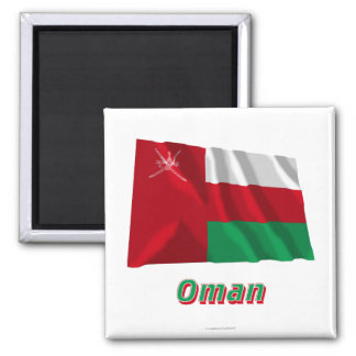 Oman Waving Flag with Name Square Magnet