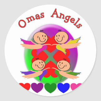 Omas Angels---Adorable Baby Angels Gifts Round Sticker