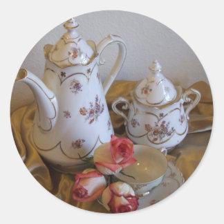 Oma's Tea Set Round Sticker