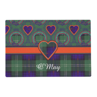 O'May clan Plaid Scottish kilt tartan Laminated Place Mat