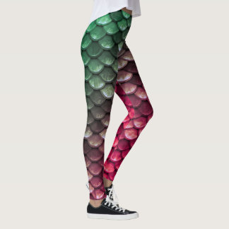 Ombre Aqua Teal and Pink Mermaid Scales Leggings
