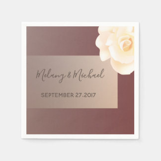 Ombre autumn burgundy romantic rose wedding disposable napkins