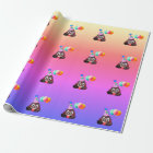 Ombre Birthday Party Poop Emoji Wrapping Paper