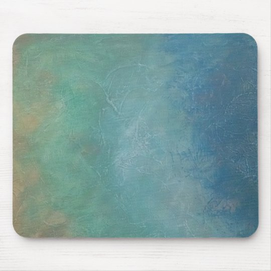 Ombre Blue Green Sea Abstract Painting Mouse Mat