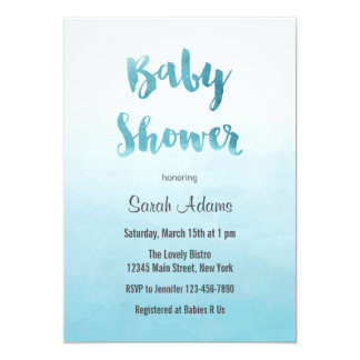 Ombre Blue Watercolor Baby Shower Invitation