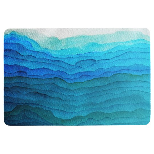 ombre blue waves bathroom mat