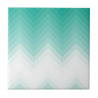 Ombre Chevron Emerald Green Tiles Gradient