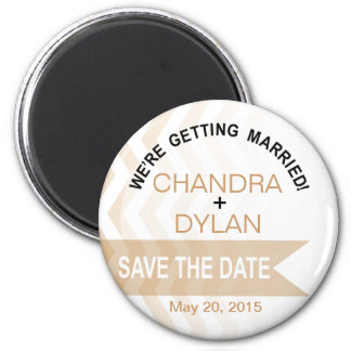Ombre Chevron Style! Save the Date blush Refrigerator Magnets