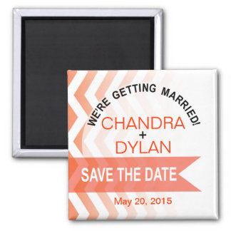Ombre Chevron Style! Save the Date coral Refrigerator Magnet