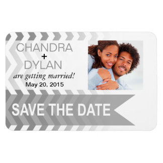 Ombre Chevron Style! Save the Date silver Flexible Magnets