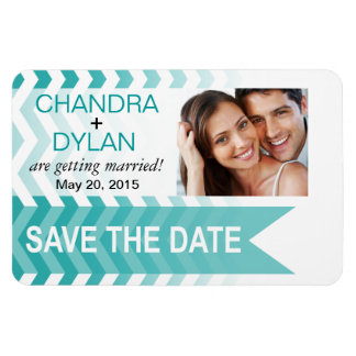 Ombre Chevron Style! Save the Date teal Flexible Magnets