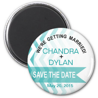 Ombre Chevron Style! Save the Date teal Magnet