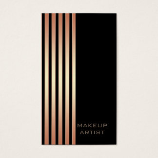 Ombre chic rose gold stripes modern luxury business card