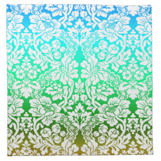 Ombre Floral Lace Pattern Blue Green Gold Napkin