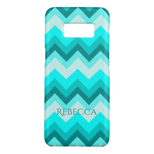 Ombre Girly Pattern Teal Turquoise Chevron Case-Mate Samsung Galaxy S8 Case