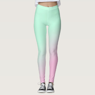 Ombre Green to Pink Leggings