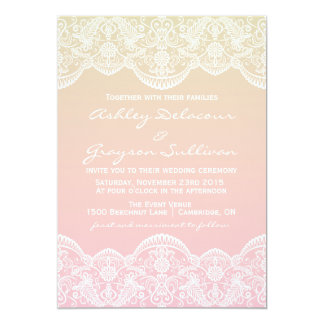 Ombre Lace Pattern Sunset Wedding Invitation