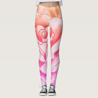 ombre large rose leggings