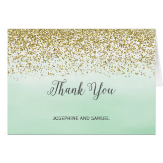 Ombre Mint and Gold Thank You Card