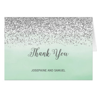 Ombre Mint and Silver Thank You Card
