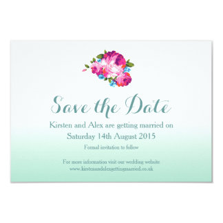 Ombre Mint Floral Save the Date Cards 9 Cm X 13 Cm Invitation Card
