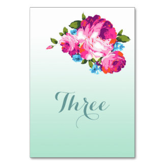 Ombre Mint Floral Table Names or Numbers Table Cards