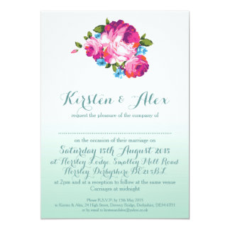 Ombre Mint Floral Wedding Invitations