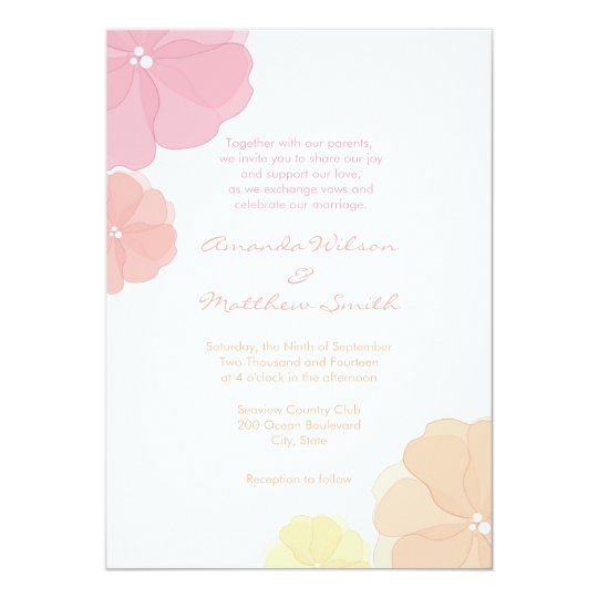 Ombre Pastel Floral Wedding Invitations
