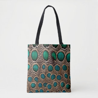 Ombre Peacock Pheasant Feathers Tote Bag