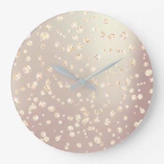Ombre Pearly Rose Gold Metallic Swarovski Crystal Large Clock