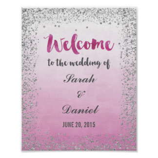 Ombre Pink and Silver Welcome Poster Print