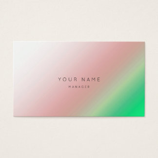 Ombre Pink Brush Green Grass Minimal Manager Vip Business Card