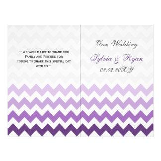 Ombre purple Chevron folded Wedding program Flyer