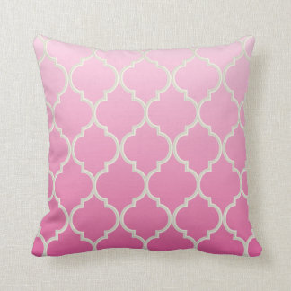 Ombre Quatrefoil Pattern | Pretty Pink Throw Pillow