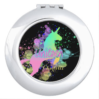 Ombre Rainbow Fantasy Unicorn Travel Mirrors