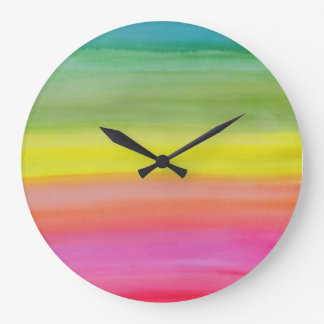 Ombre Rainbow Watercolor Print Clock