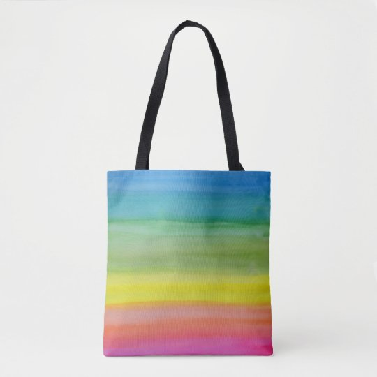 Ombre Rainbow Watercolor Print Tote