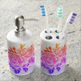 ombre rose tattoo bathroom set