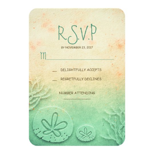 Ombre sand dollar beach wedding RSVP cards